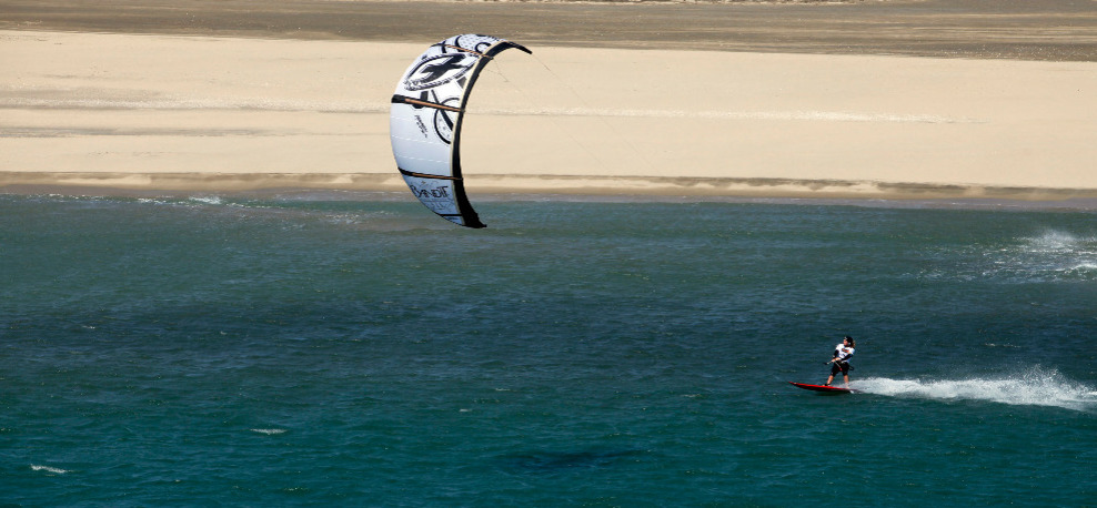 Kiting on the Mediterranean Sea