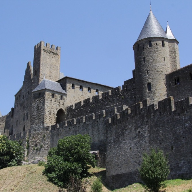 Side walls of Carcassonne Castle