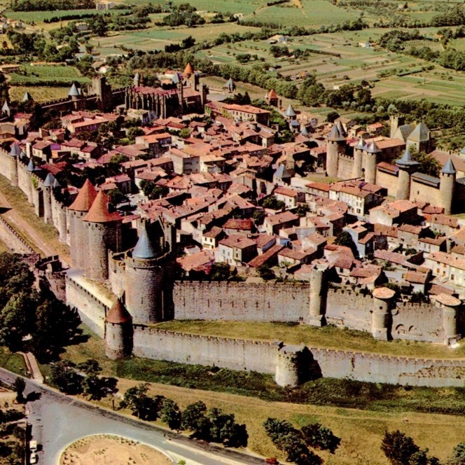 "Overhead picture of Carcassonne castle ""La Cité"""