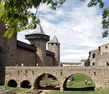 Entrance bridge off the castle in Carcassonne