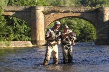 Fly fishing in the river Aude